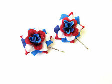 2 x Red White Blue Flower Hair Grips Clips Bobby Pins Slides Bridesmaid 2160