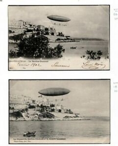 MONACO PIONEER AVIATION Cards{2} 1902 *SANTOS-DUMONT* Airship Test Flights EP485