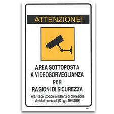 Cartello attenzione video sorveglianza avviso videosorveglianza sicurezza 20x30