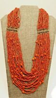 """A59) Chico's 24 Strand Red Glass Beaded Necklace - 26"""" long"""