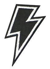 BLACK LIGHTNING BOLT PATCH, ELECTRIC ZAP APPLIQUE, FLASH BOLT STRIKE (BF-596)