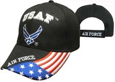 U.S. Air Force Wings Patriotic USA Flag Black Embroidered Cap Hat 603GB TOPW