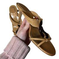 Christian Dior Shoes Size 38.5 Tan Snake Heeled Samurai Collection Sandals