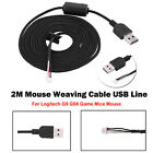 For Logitech G9 G9X Game Mice Mouse 2m Mouse Weaving Cable USB Line Repair Parts