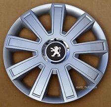 """Silver  14"""" wheel trims, Hub Caps, Covers to Peugeot 107 (Quantity 4)"""