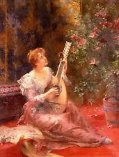 Oil painting conrad kiesel - the lute player nice young girl in spring landscape