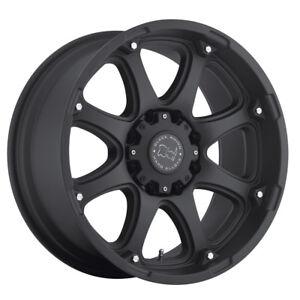 "20"" BLACK RHINO GLAMIS MATTE BLACK WHEELS RIMS 20x12 8x165 -44et"