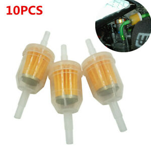 10pcs 1/4in 6MM-8MM Motorcycle Small Engine Inline Gas Oil Fuel Filter Plastic