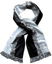 echarpe fantaisie femme velours noir blanc et gris