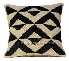 3 Pcs Turkish Pillow Case Wool Jute Kilim Back Cushion Cover Handmade Throw Boho