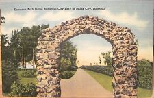 Montana Postcard ENTRANCE ARCH CITY TOURIST PARK MILES CITY Mont Tichnor Views