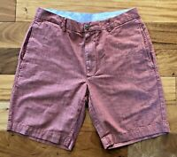 Roundtree & Yorke Casuals Mens Sz 32 Red Flat Front Straight Shorts 100% Cotton