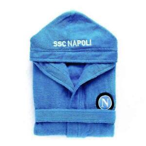 Accappatoio Uomo SSC Napoli in Spugna Colore Azzurro con Cappuccio