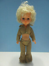 "11.5"" Blonde Curly Blue Eyed Plastic Doll Made in Hong Kong Tan Pant Set"