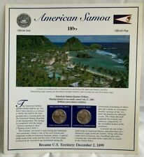 2009 AMERICAN SAMOA  2 x QUARTERS  Collector Set * Uncirculated D & P  w/ Stamps