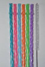 "11"" - 6 Reusable Straws Swirly Color Plastic Acrylic BPA Free Cleaning Brush #9B"