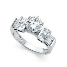 Bridal Cz Round & Square Cz Band Cz Solitaire Engagement Ring 14k White Gold