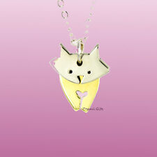 "Far Fetched DANCING CAT NECKLACE Swings! Adj Silver 16 - 18"" Chain - Gift Boxed"