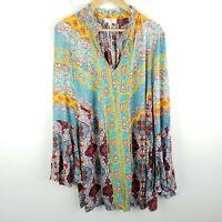 Umgee Mixed Print Tunic Dress Bell Sleeve Tie Ruffle V-Neck SIze Large