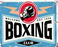 Boxing club metal wall sign small  games room man cave pub bar shed shop sports