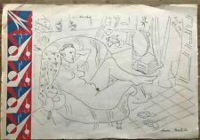 HENRI MATISSE - drawing on original paper of 30's