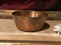 "Antique Vintage Heavy Brass Bowl w/ Deer & Floral Etched Design 4 3/8""x1 3/4"""