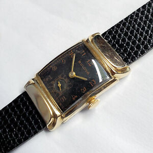 Vintage 1949 Bulova Squadron Men's Black Dial Watch - Caliber 8AD, ETA 1220