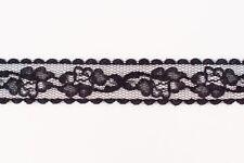 365 metres × 20mm Wide, Black Floral Flat Lace Trim Wholesale (186)