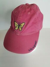 Life is Good Girls Hat Baseball Cap Size 2-4T Red Gold Butterfly Adj Strap