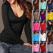 Plus Size Ladies Womens Long Sleeve V Neck Jersey Casual Top Basic Tunic T Shirt