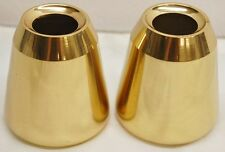 """PAIR POLISHED BRASS  SMOOTH CANDLE FOLLOWERS FOR 1 1/2"""" CANDLES- 14 AVAILABLE"""