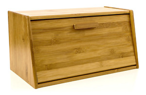 BAMBOO BREAD BOX BIN STORAGE WITH LIFT UP OR DROP DOWN LID TRADITIONAL DESIGN