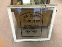 Vintage Window Shop Advertising M A Sumner Jeweler Optician Sign Glass