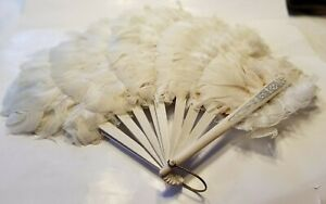 Antique White Feather Fan 1900s Embellished Sticks
