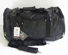 """22"""" Genuine Lambskin Black Leather Gym Bag Multi Pockets Hand & Shoulder Straps"""