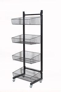 4 Tier Basket Stand on Wheels-Black