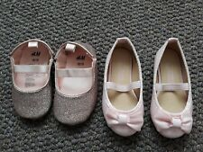 2 Pairs Pink Shoes Ballet Pumps baby girl size 3/4 (EUR 18-19)