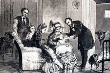 Smallpox Panic 1871 DOCTOR MEDICAL PEDIATRICIAN HOSPITAL Antique Matted Print