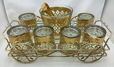 Vtg Culver Valencia Bar Set 22k Gold Green 6 Tumblers Ice Bucket Wire Tray Cart