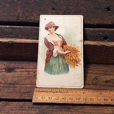Antique Victorian Advertising 1800's Ariosa Coffee , Woman Harvesting Crops