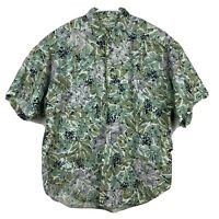 GUESS Button Down Shirt Large Men's Floral Short Sleeve Georges Marciano