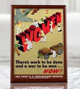 WWII American Propaganda Poster - WW2 US MIlitary Women Wall Print Reproduction