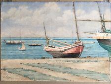 «Étretat, Normandie,bord de mer/ bateaux»aquarelle ancienne Signée: Ch. Félix