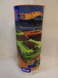 Mega Bloks Hot Wheels Fast Fish New 2014 Racer Included Green Car 62 Pieces