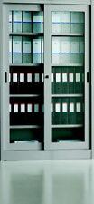Armadio Archivio In Metallo Ante Vetro Scorrevole Da 120X45X200 Con Serratura