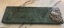Vintage Green Marble Slab Pewter Fish Cheese Board Elegant