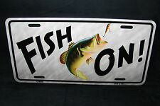 FISHING METAL NOVELTY LICENSE PLATE TAG FOR CARS AND TRUCKS FISH ON BASS FISHING