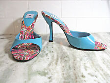 "Bakers Womens Shoes Size 8B Torquoise Slides Sandals ""Diva"" Patent Dangly Heart"