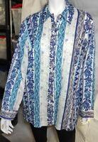 Liz Claiborne Woman Blue Floral 100% Linen  Button Front Long Sleeve Shirt 1X