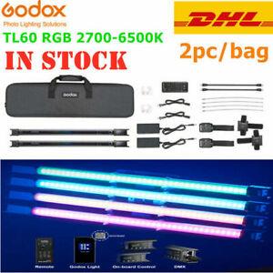 2pc Godox TL60 Pavotube Light handheld RGB LED video Light 2700K-6500K + Remote